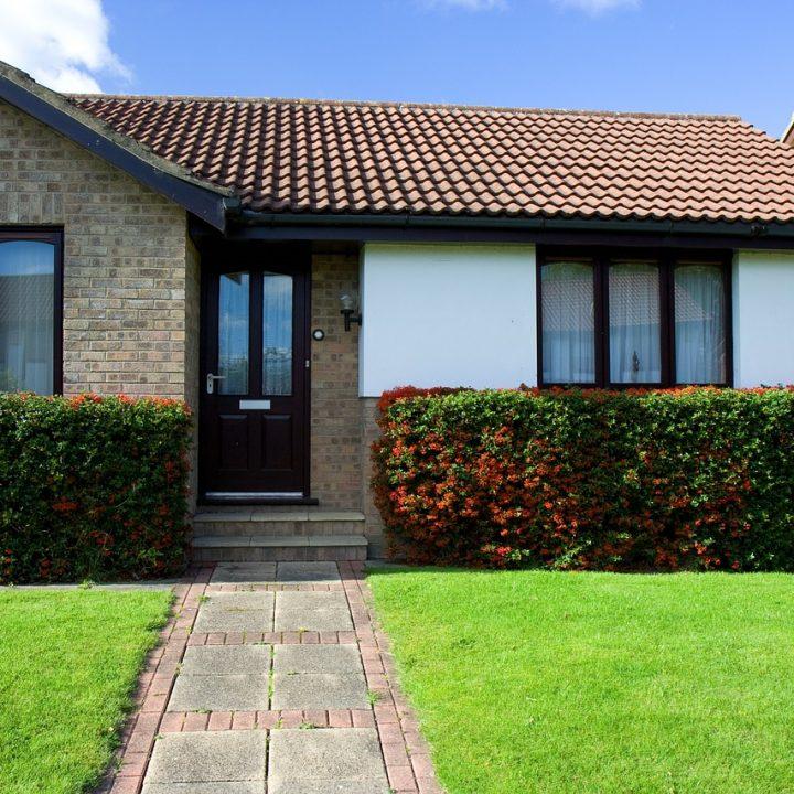 bungalow, house, door